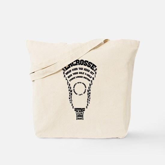 Lacrosse Defense Words Tote Bag