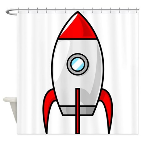 red and white rocket Shower Curtain