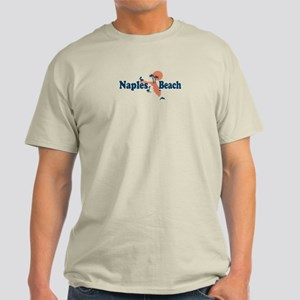Naples Beach - Map Design. Light T-Shirt