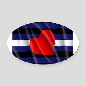 LEATHER PRIDE FLAG Oval Car Magnet