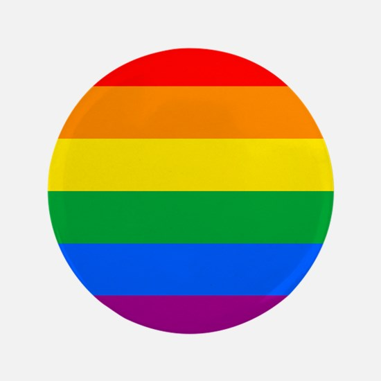 "GAY PRIDE FLAG - RAINBOW FLAG 3.5"" Button"