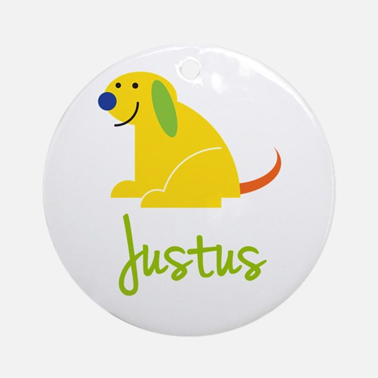 Justus Loves Puppies Ornament (Round)