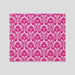 Hot Pink Damask Throw Blanket