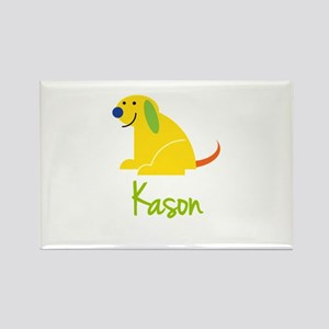 Kason Loves Puppies Rectangle Magnet