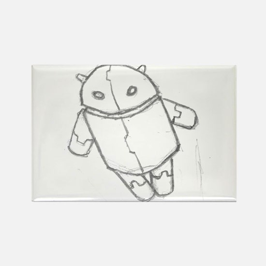 Android in flight Rectangle Magnet