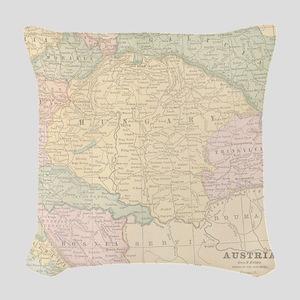 Vintage Austria Map Woven Throw Pillow