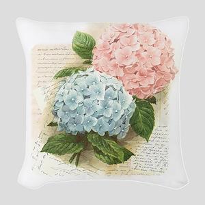 Hydrangea Flowers Woven Throw Pillow