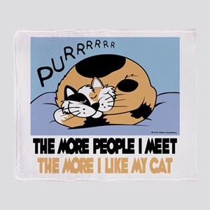 The More People I Meet Cat Throw Blanket