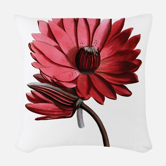 Red Water Lilies Woven Throw Pillow