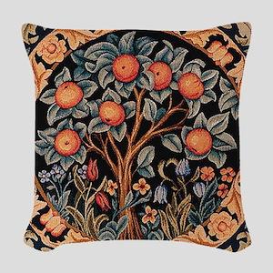 Orange Tree of Life Woven Throw Pillow