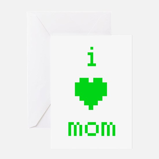 i heart mom (green) Greeting Card