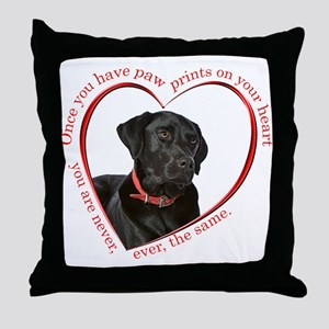 Lab Paw Prints Throw Pillow
