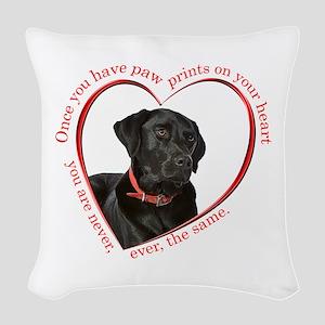 Lab Paw Prints Woven Throw Pillow