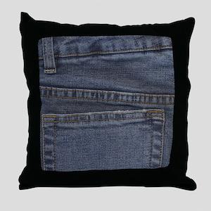 Blue Denim Pocket Throw Pillow