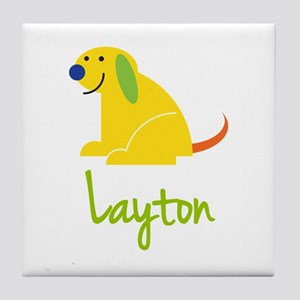 Layton Loves Puppies Tile Coaster