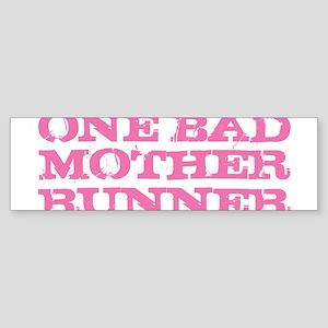 One Bad Mother Runner Pink Bumper Sticker