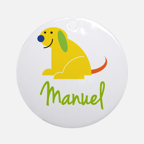 Manuel Loves Puppies Ornament (Round)