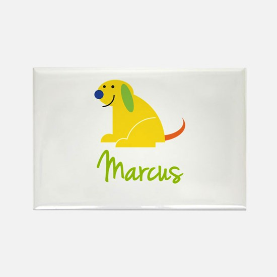 Marcus Loves Puppies Rectangle Magnet