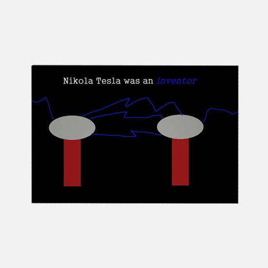 Nikola Tesla was an inventor Rectangle Magnet