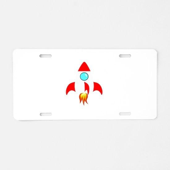 Space Rocket Aluminum License Plate