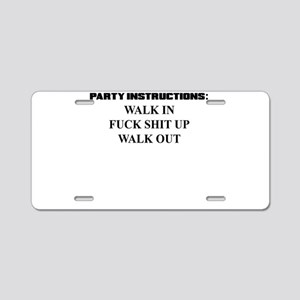 PARTY INSTRUCTIONS Aluminum License Plate