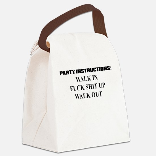 PARTY INSTRUCTIONS Canvas Lunch Bag