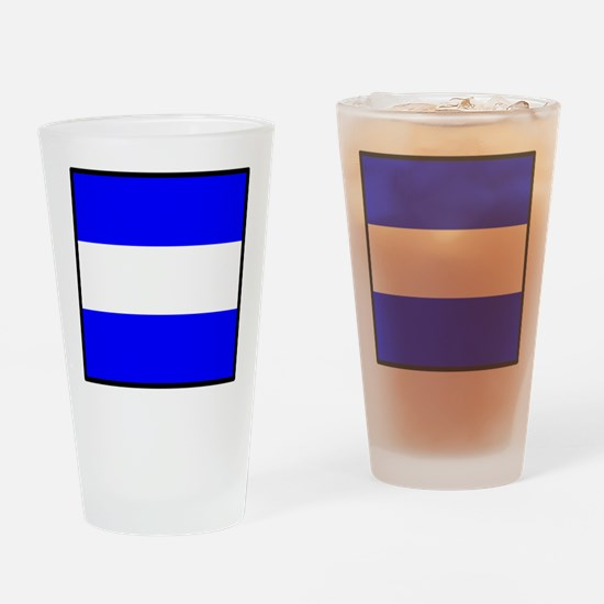 Nautical Flag Code Juliet Drinking Glass