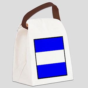 Nautical Flag Code Juliet Canvas Lunch Bag