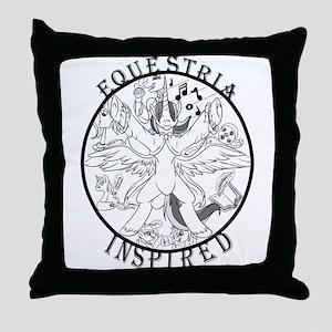 Greyscale EquIn Logo Throw Pillow
