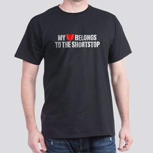 My Heart Belongs To The Shortstop Dark T-Shirt