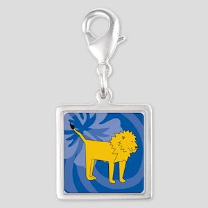 Lion Silver Square Charm