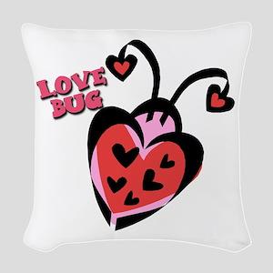 ladybug valentine copy Woven Throw Pillow