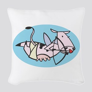 cow cupid copy Woven Throw Pillow