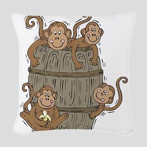 barrel of monkeys Woven Throw Pillow