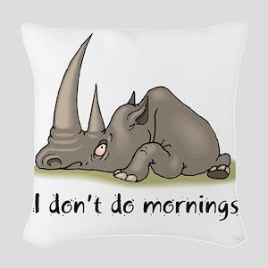 mornings rhino Woven Throw Pillow