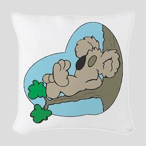 koala sleeping copy Woven Throw Pillow