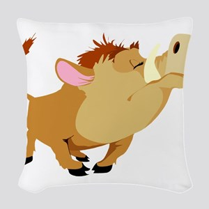 funny proud wild pig Woven Throw Pillow