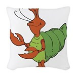 silly happy hermit crab.png Woven Throw Pillow