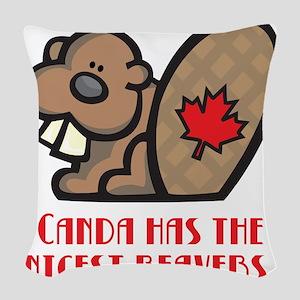 nicest beavers Woven Throw Pillow
