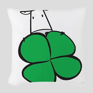 lucky 4 leaf clover cow Woven Throw Pillow