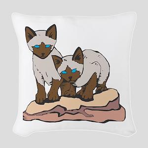 siamese kittens copy Woven Throw Pillow