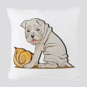 sharpei with shell Woven Throw Pillow