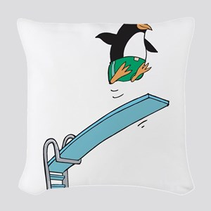 funny diving penguin Woven Throw Pillow