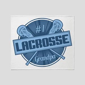 #1 Lacrosse Grandpa Throw Blanket