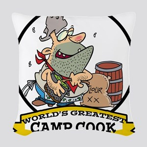 WORLDS GREATEST CAMP COOK CARTOON Woven Throw