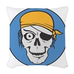 pirate skull colored copy.jpg Woven Throw Pillow