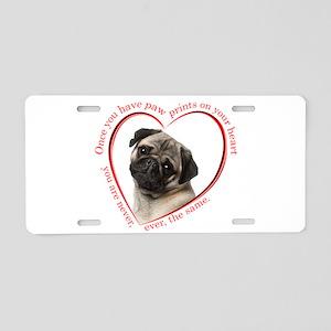 Pug Paw Prints Aluminum License Plate