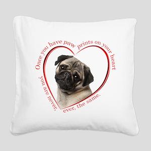 Pug Paw Prints Square Canvas Pillow