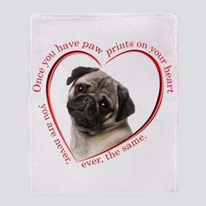 Pug Paw Prints Throw Blanket