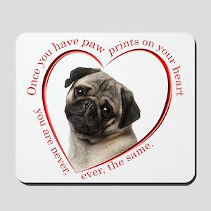 Pug Paw Prints Mousepad